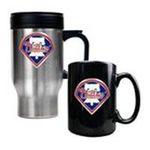 Great American Products -  MLB Phillies Stainless Steel Travel Mug and Black Ceramic Mug Set 0089006032970