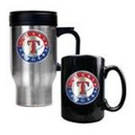 Great American Products -  MLB Rangers Stainless Steel Travel Mug and Black Ceramic Mug Set 0089006033038