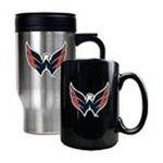 Great American Products -  Great American Washington Capitals Stainless Steel Travel Mug & Ceramic Mug Set 0089006043662