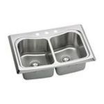 Elkay -  ECTM3322100 Echo Stainless Steel 33 x 22 Self Rimming Double Basin Kitchen Sink with 10 3/4 Depth: Stainless 0094902435145