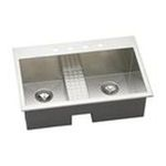 Elkay -  EFTLB332210CDBL5 Avado Stainless Steel 33 x 22 Self Rimming Double Basin Kitchen Sink with 10 Depth  and Work Bench: Stainless 0094902444734