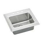 Elkay -  ECTCE252210MR2 Echo Stainless Steel 25 Self Rimming Single Basin Kitchen Sink: 2 Holes 0094902604442