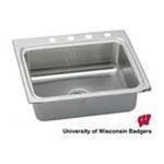 Elkay -  LR25220BNCUWIS Gourmet Lustertone No Holes Single Bowl Stainless Steel Kitchen Sink with University of Wisconsin 0094902617367