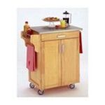 DMI Furniture, Inc. -  Natural Kitchen Cart with Stainless Steel Top 0095385065201