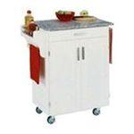 DMI Furniture, Inc. -  White Kitchen Cart with Grey Granite Top 0095385065249