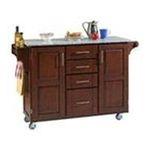 DMI Furniture, Inc. -  Natural Kitchen Island with Grey Granite Top 0095385065331