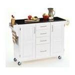 DMI Furniture, Inc. -  Homestyles 9100-1024 White Kitchen Wood Cart with Black Granite Top 0095385730376