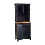 DMI Furniture, Inc. -  Black Buffet with Natural Wood Top and 2-Glass Door Hutch 0095385735401