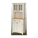 DMI Furniture, Inc. -  White Buffet with Natural Wood Top and 2-Glass Door Hutch 0095385735685