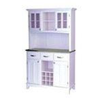 DMI Furniture, Inc. -  Large White Wood Buffet with Stainless Steel Top and 2-Glass Door Hutch 0095385735814