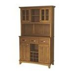 DMI Furniture, Inc. -  Large Cottage Oak Buffet with Cottage Oak Top and 2-Glass Door Hutch 0095385744120