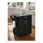 DMI Furniture, Inc. -  Mix & Match 2 Door w/ Drawer Cuisine Cart Cabinet, Black Paint, 32-1/2 in. W x 18-3/4 in. D x 36 in. H, Grey Granite Top 0095385745295