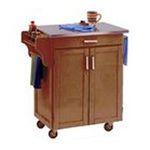DMI Furniture, Inc. -  Mix & Match 2 Door w/ Drawer Cuisine Cart Cabinet, Cottage Oak Stain, 32-1/2 in. W x 18-3/4 in. D x 36 in. H, SS Top 0095385745363