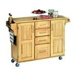 DMI Furniture, Inc. -  Mix & Match 2 Door w/ 4 Drawer Kitchen Cart Cabinet, Natural Finish, 52-1/2 in. W x 18 in. D x 36 in. H, Wood Top 0095385745394