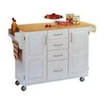 DMI Furniture, Inc. -  Mix & Match 2 Door w/ 4 Drawer Kitchen Cart Cabinet, White Paint, 52-1/2 in. W x 18 in. D x 36 in. H, Wood Top 0095385745431