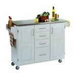 DMI Furniture, Inc. -  Mix & Match 2 Door w/ 4 Drawer Kitchen Cart Cabinet, White Paint, 52-1/2 in. W x 18 in. D x 36 in. H, SS Top 0095385745448
