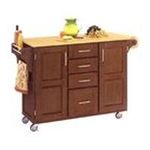 DMI Furniture, Inc. -  Mix & Match 2 Door w/ 4 Drawer Kitchen Cart Cabinet, Cottage Oak Stain, 52-1/2 in. W x 18 in. D x 36 in. H, Wood Top 0095385745592