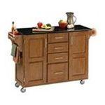 DMI Furniture, Inc. -  Mix & Match 2 Door w/ 4 Drawer Kitchen Cart Cabinet, Cottage Oak Stain, 52-1/2 in. W x 18 in. D x 36 in. H, Black Granite Top 0095385745622