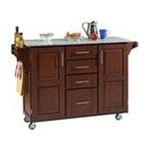 DMI Furniture, Inc. -  Mix & Match 2 Door w/ 4 Drawer Kitchen Cart Cabinet, Cherry Stain, 52-1/2 in. W x 18 in. D x 36 in. H, Grey Granite Top 0095385766801