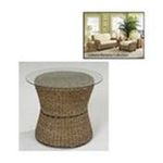 DMI Furniture, Inc. -  Home Styles Cabana Banana Round Drum Accent Table with Glass Top - Round - 24 x 20.0 - Glass, Wicker - Honey 0095385772680