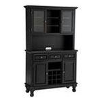 DMI Furniture, Inc. -  Premium Hutch and Buffet with Black Granite Top in Black 0095385806576