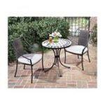 DMI Furniture, Inc. -  Black and Tan 3-piece Tile Top Bistro Set 0095385813581