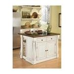 DMI Furniture, Inc. -  Home Styles Antiqued White Kitchen Island with Granite Top and Two Stools 0095385818340