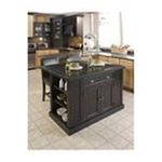 DMI Furniture, Inc. -  Nantucket Distressed Black Finish Kitchen Island with Two Bar Stools 0095385832391