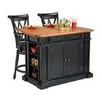 DMI Furniture, Inc. -  Home Styles Black/ Oak Kitchen Island and Two Deluxe Bar Stools 0095385844530