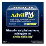 Advil - Pm Pain Reliever Nsaid Nighttime Sleep-aid Ibuprofen Diphenhydramine Citrate 180 Coated Caplets 200 mg,1 count 0305730164467  / UPC 305730164467