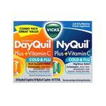 Vicks - Vicks Dayquil Nyquil Nyquil Dayquil Plus Vitamin C Caplets Combo Pack 40 caplets 0323900011465  / UPC 323900011465