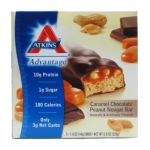 Atkins - Advantage Bar Caramel Chocolate Peanut Nougat 5 bars 0637480035026  / UPC 637480035026