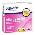 Equate -  Allergy Medication 25 mg lb lb, 0.99 inxin3.8 inxin3.8 in,24 count 0681131187220