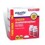 Equate -  Extra Strength Value Pack Acetaminophen Pain Reliever Fever Reducer, 200 caplets,1 count 0681131700047