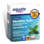 Equate -  Nicotine Polacriex Gum Nicotine Stop Smoking Aid Mint Nicotine Gum 2 Mg lb lb lb lb, 2.375 inxin3 inxin4.875 in,170 count 0681131779302