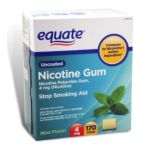 Equate -  Nicotine Gum Polacrilex Stop Smoking Aid Mint Flavor 4 mg lb lb, 2.375 inxin3 inxin4.875 in,170 count 0681131779333