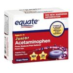 Equate -  Junior Pain Reliever Grape Flavor Ages 6-12 24 Meltaways Tablets Acetaminophen 160 mg 0681131837385