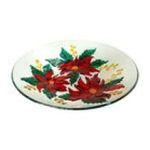 Evergreen Group -  Poinsettias Glass Bird Bath 0746851474514