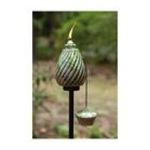Evergreen Group -  Windswept Ceramic Torch with Stake - Green & Cobalt Glaze 0746851564895