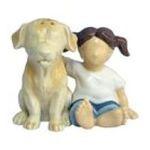 Westland Giftware -  Children Girl Dog Lab S/P Salt & Pepper Shakers 0748787184451