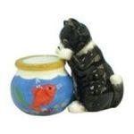 Westland Giftware -  Black Cat Fish Bowl S/P Salt & Pepper Shakers 0748787934766