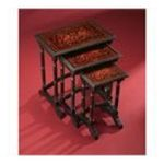 Antique Reproductions, Inc. -  Three Tier Nesting Side Table in Black with Red Accent 0750457036663