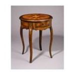 Antique Reproductions, Inc. -  Single Drawer Round Table in Medium Brown 0750457076638