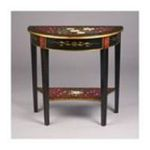 Antique Reproductions, Inc. -  Demilune Table in Black and Red Floral 0750457458670