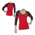 Adidas  - Reebok Calgary Flames Womens 3/4 Sleeve Rib Henley 0885580659226  / UPC 885580659226