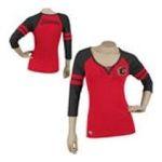 Adidas  - Reebok Calgary Flames Womens 3/4 Sleeve Rib Henley 0885580659233  / UPC 885580659233