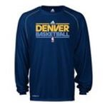 Adidas  -   None adidas Denver Nuggets Heathered ClimaLite Long Sleeve T-Shirt 0885587811658 UPC 88558781165