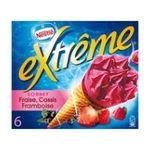 Extrême -  extreme glace individuelle boite carton framboise cassis fraise  6ct baie de cassis cone de sorbet non enrobe meuble surgele  3033210003339