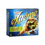 Extrême -  extreme glace individuelle boite carton chocolat pistache  6ct pepite de nougatine cone de creme glacee non enrobe meuble surgele  3033210003612