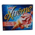 Extrême -  extreme glace individuelle boite carton fraise et vanille  6ct sauce fruit rouge cone de creme glacee non enrobe meuble surgele  3033210003636